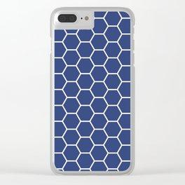 Blue honeycomb geometric pattern Clear iPhone Case