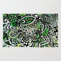 green pattern Area & Throw Rugs featuring Green Pattern by Marcela Caraballo