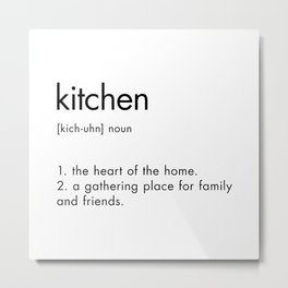 Text Print Kitchen Definition Sign Metal Print