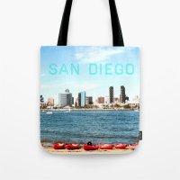 san diego Tote Bags featuring San Diego  by Natasha Alexandra Englehardt