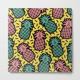Memphis Pineapple Pattern 222 Metal Print