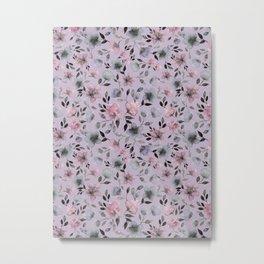 Watercolor floral pattern n.4 on lilac grey Metal Print