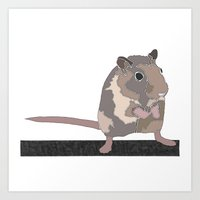 rat Art Prints featuring Rat by AJVicoso