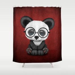 Cute Panda Bear Cub with Eye Glasses on Red Shower Curtain