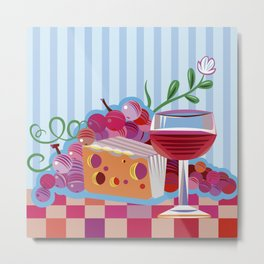 Wine & Cheese Party Metal Print