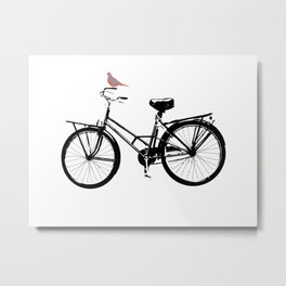 Baker's bicycle with bird Metal Print