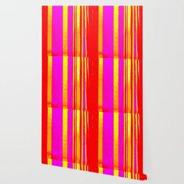 pink red yellow white stripes Wallpaper