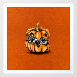 Halloween Pumpkin Pug Art Print