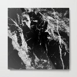 Dark marble black white stone1 Metal Print