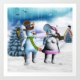 Funny, cute snowman and snow women Art Print
