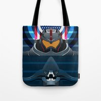 pacific rim Tote Bags featuring Pacific Rim, Jaws edition by milanova