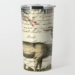 western country primitive christmas mountain animal wildlife winter pine tree elk Travel Mug
