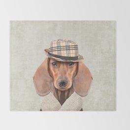 The stylish Mr Dachshund Throw Blanket