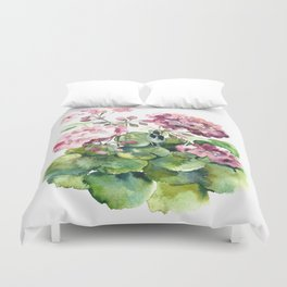 Watercolor pink geranium flowers aquarelle Duvet Cover