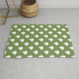 Cute Cat Pattern | Green Rug
