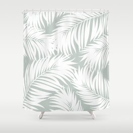 Palm Tree Fronds White on Rainwashed Maui Hawaii Tropical Graphic Design Shower Curtain