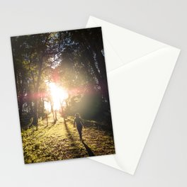 Woman hiking along an Oregon forest trail at sunset Stationery Cards