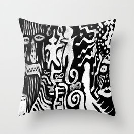 painting remix white Throw Pillow