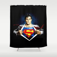 superman Shower Curtains featuring Superman by DavinciArt