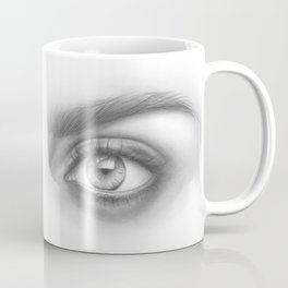 Eye Art | Sexy Girl | Beauty | Model | Woman Face | Graphite Drawing| Pencil Black and White Art Coffee Mug