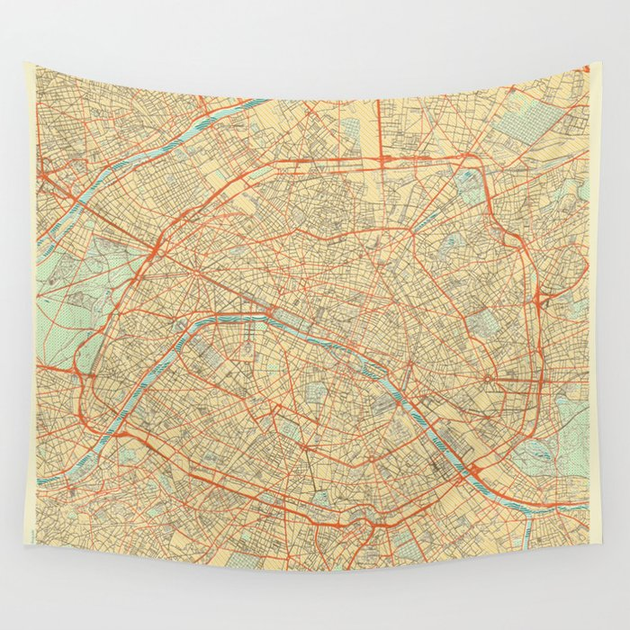 Paris Map Retro Wandbehang