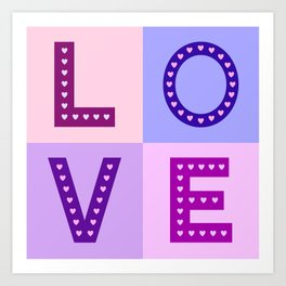 Love Hearts Love Type Pinks Purples Art Print
