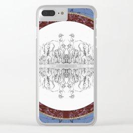 Utopian Plate : Elephants (blue) Clear iPhone Case