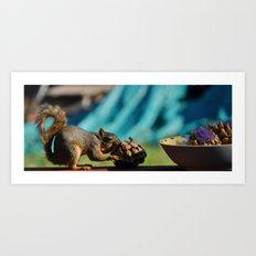 Squirl Enjoying Artichoke Art Print
