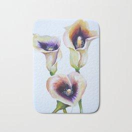 Sublime Bouquet Arum Calla Lilies in Watercolor Bath Mat