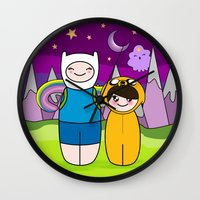 finn and jake Wall Clocks featuring Kokeshis Finn&Jake by Pendientera