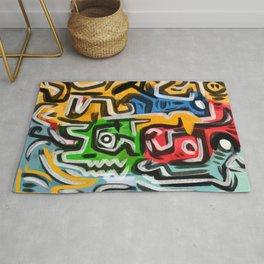 Primitive street art abstract Rug
