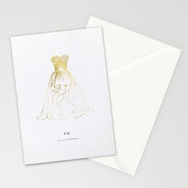 Little Gold Ball Gown Dress Stationery Cards