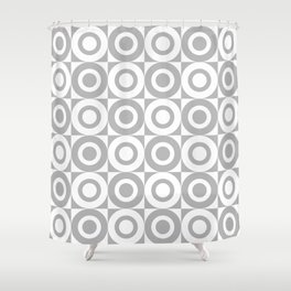 Mid Century Square and Circle Pattern 541 Gray Shower Curtain