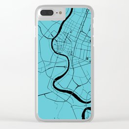 Bangkok Thailand Minimal Street Map - Turquoise and Black Clear iPhone Case