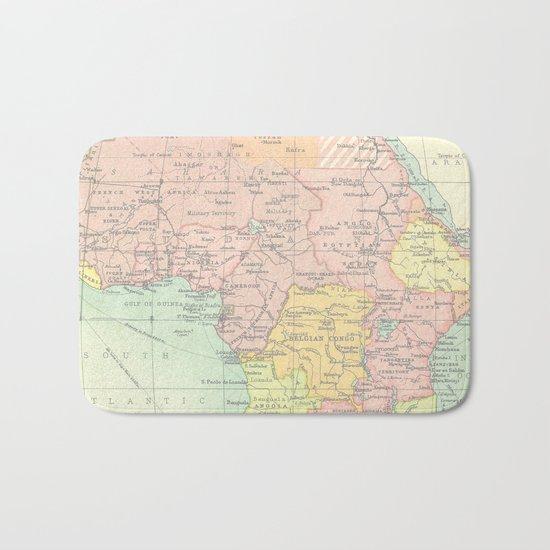 Vintage Africa Map Bath Mat