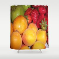 fruits Shower Curtains featuring Fruits by EnelBosqueEncantado