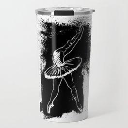 Ballerina Doing a Backbend on a Black Background Travel Mug
