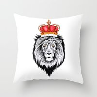 the lion king Throw Pillows featuring Lion King by Libby Watkins Illustration