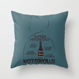 Notorious!, Alfred Htichcock, minimal movie poster, Cary Grant, Ingrid Bergman, classic cinema, film Throw Pillow