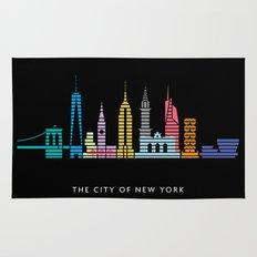New York Skyline Black Rug