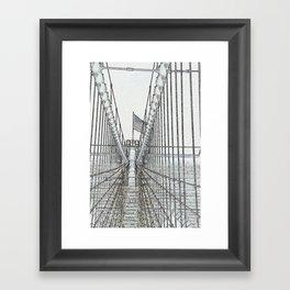 Brooklyn Bridge Cables Abstract Framed Art Print