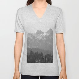 Go Beyond - Black and White Wilderness Nature Photography Unisex V-Neck