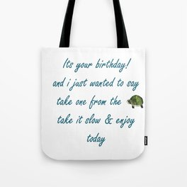 Birthday Turtle Tote Bag