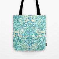bedding Tote Bags featuring Botanical Geometry - nature pattern in blue, mint green & cream by micklyn