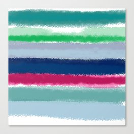 Bluish Blues 2 - Blues, Aqua, Greens, and Pinks, Stripes on White Canvas Print
