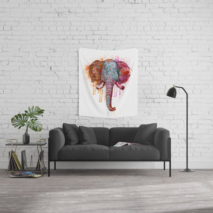Watercolor Elephant Head Wall Tapestry