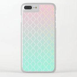 Moroccan pattern with mint, pink and gold Clear iPhone Case