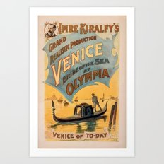 Vintage theatrical poster for Imre Kiralfy's production of Venice Bride of the Sea at Olympia Art Print