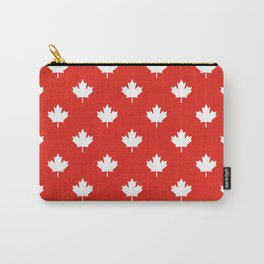 Large Reversed White Canadian Maple Leaf on Red Carry-All Pouch