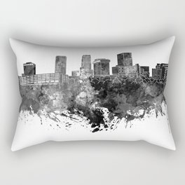 Akron skyline in black watercolor Rectangular Pillow